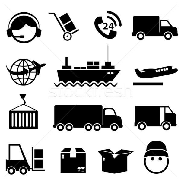 Shipping and cargo icon set Stock photo © soleilc