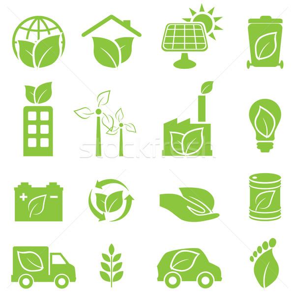 Stockfoto: Groene · eco · milieu · iconen · huis