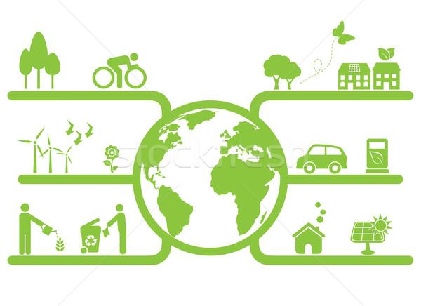 Verde planeta símbolos limpar eco casa Foto stock © soleilc