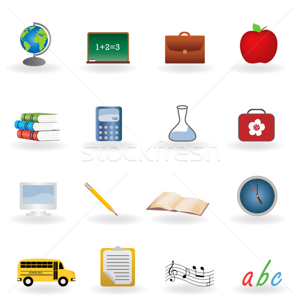 Back to school icons Stock photo © soleilc