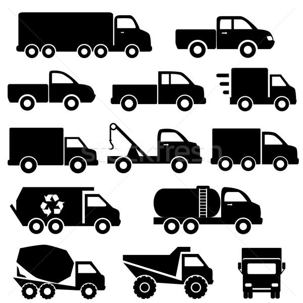 Trucks icon set Stock photo © soleilc