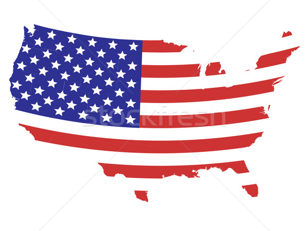 Stock photo: Flag designed United States map