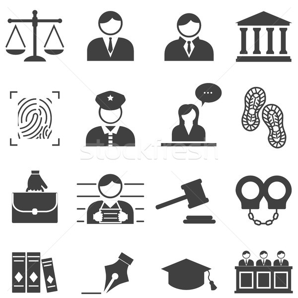 Justice, law, legal icons Stock photo © soleilc