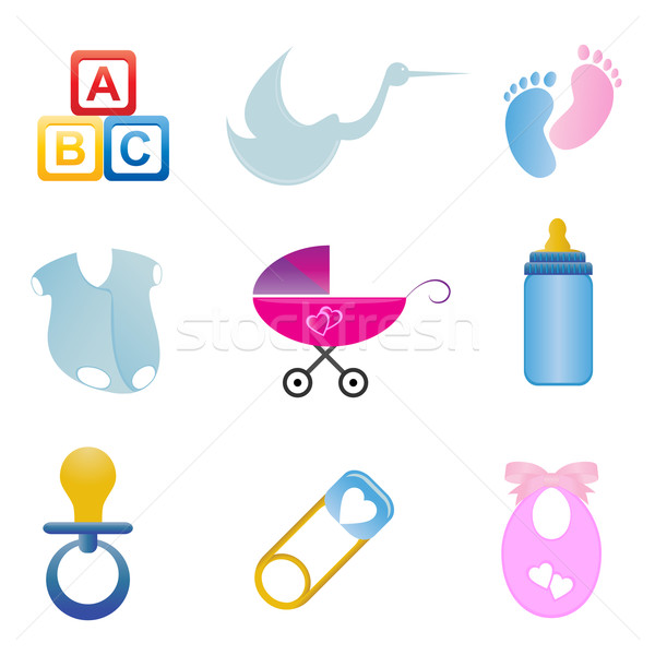 Baby related icon set Stock photo © soleilc