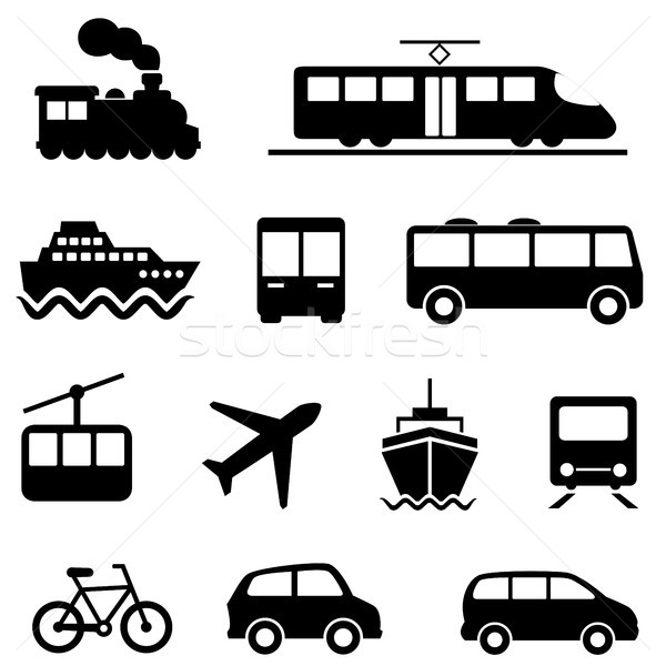 Air, sea, land and public transportation icons Stock photo © soleilc