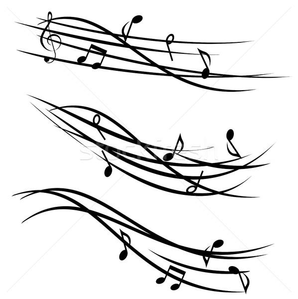 музыки отмечает декоративный музыку силуэта звук ноты Сток-фото © soleilc