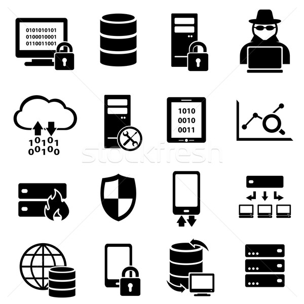 Computer, technology, data icons Stock photo © soleilc