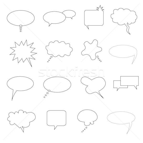 Discours parler pensé bulles cartoon dessinées Photo stock © soleilc