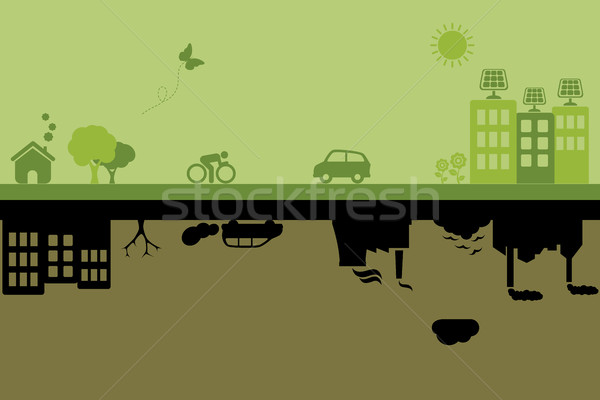 Green sustainable and polluted cities Stock photo © soleilc