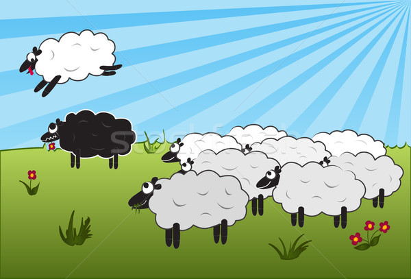 Jumping over black sheep Stock photo © soleilc