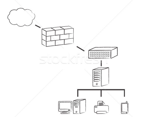 Rete diagramma ufficio design server corporate Foto d'archivio © soleilc