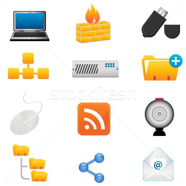 Komputera ikona technologii laptop myszą Zdjęcia stock © soleilc