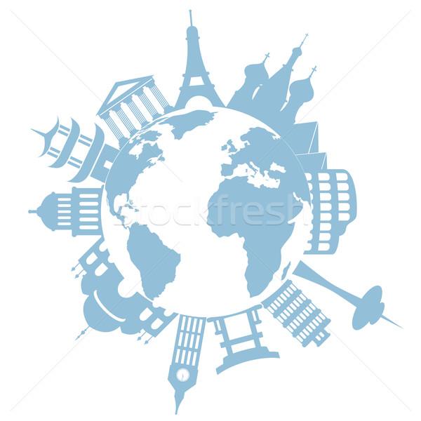 Világutazás műemlékek híres földgömb világ utazás Stock fotó © soleilc