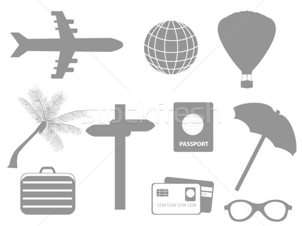 Viaje turismo avión tarjeta de crédito caliente maleta Foto stock © soleilc