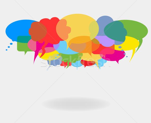 Konuşmak sosyal ağ ağ iletişim konuşma Stok fotoğraf © soleilc