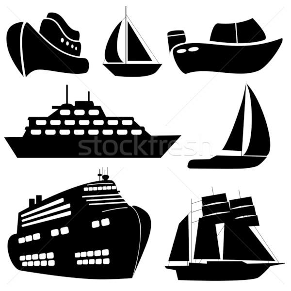 Schepen boten zwarte reizen schip silhouet Stockfoto © soleilc