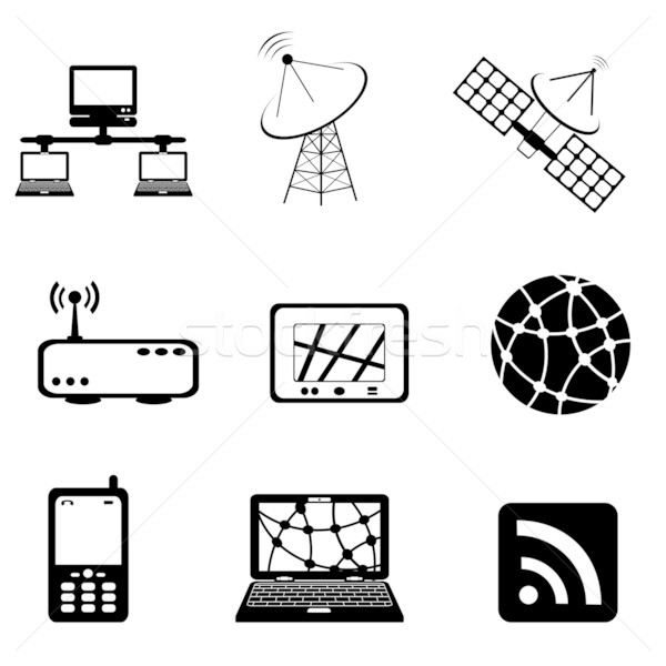 Communication and computer icon set Stock photo © soleilc