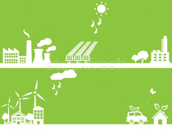 緑 環境にやさしい 市 業界 家 ツリー ストックフォト © soleilc