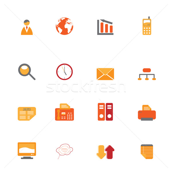 Business symbols in orange tones Stock photo © soleilc