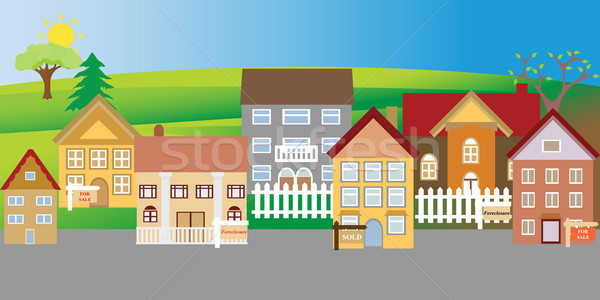 Houses for sale and foreclosure Stock photo © soleilc
