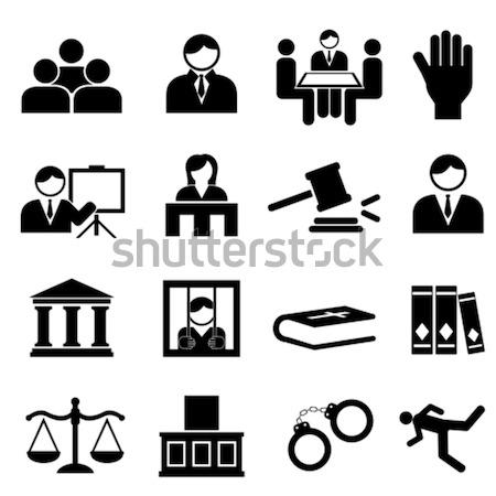 Törvény jogi igazság ikon gyűjtemény bíróság ügyvéd Stock fotó © soleilc