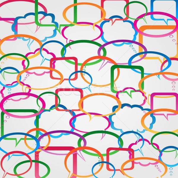Falar discurso desenho animado bubbles pensamento diálogo Foto stock © soleilc