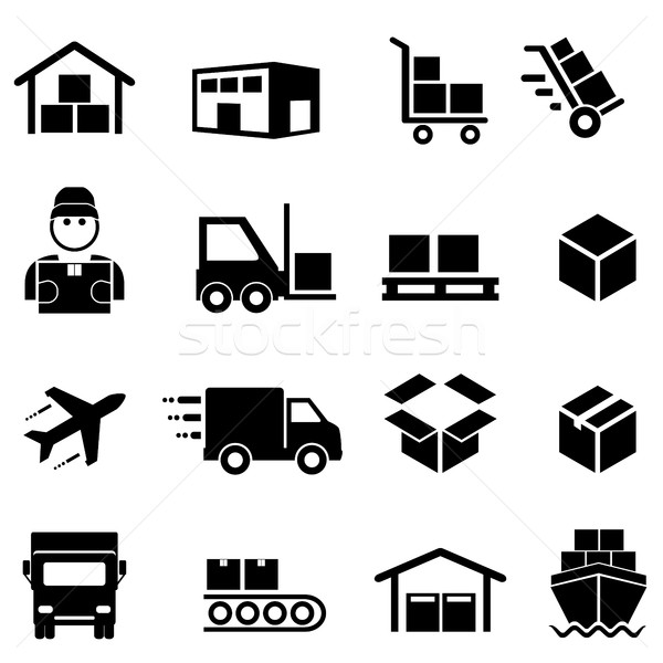 Shipping, distribution, cargo and logistics icons Stock photo © soleilc