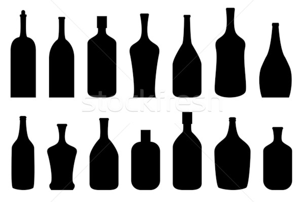 Alcohol bottles in black Stock photo © soleilc
