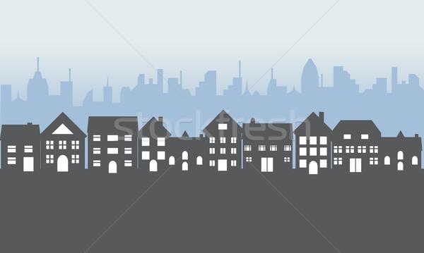 Külvárosi lakások éjszaka környék ház város Stock fotó © soleilc