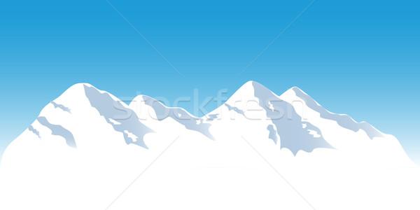 Snowy mountain tops Stock photo © soleilc