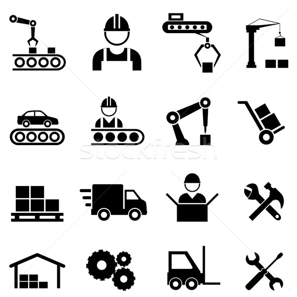 Factory and manufacturing industry icons Stock photo © soleilc
