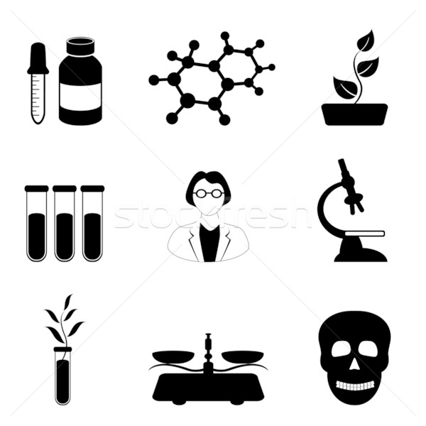 Science, biology and chemistry icon set Stock photo © soleilc