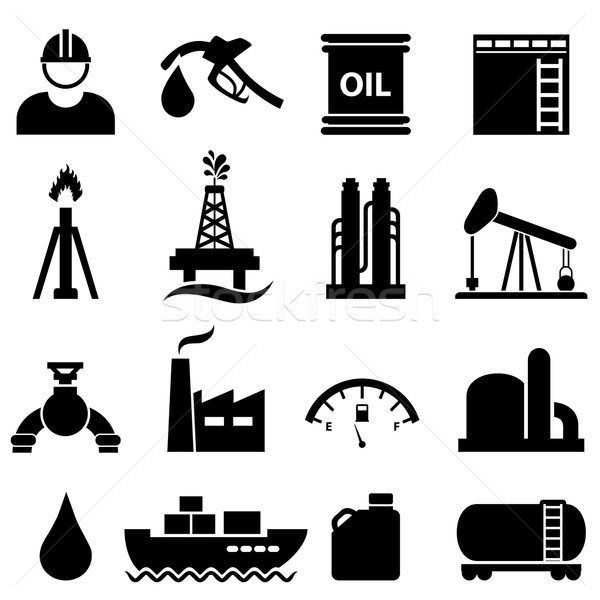 Olaj gázolaj ikon gyűjtemény kőolaj ipar fekete Stock fotó © soleilc