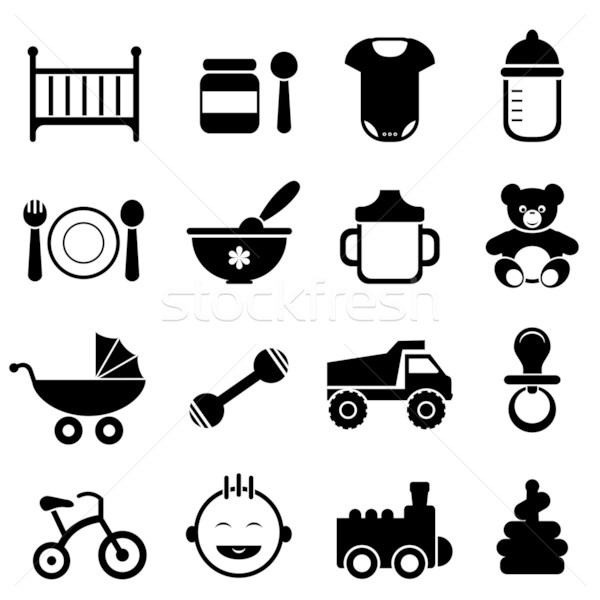 Baby and newborn icon set Stock photo © soleilc