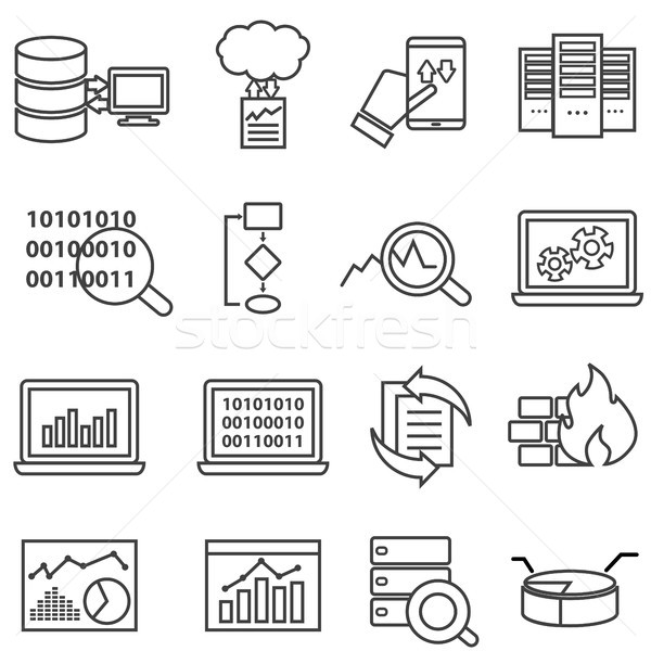 Big data, machine learning and data analysis line icons Stock photo © soleilc