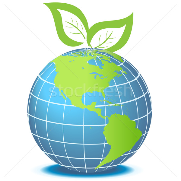 Green globe with leaves Stock photo © soleilc
