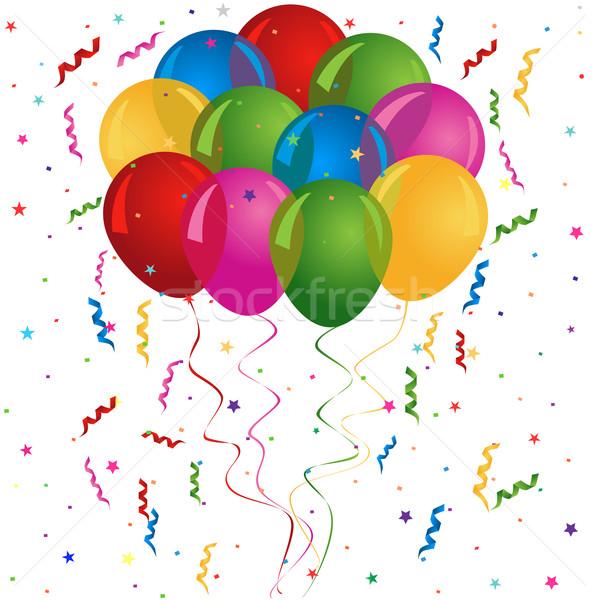 Ballons fête d'anniversaire carte fête amusement star Photo stock © soleilc