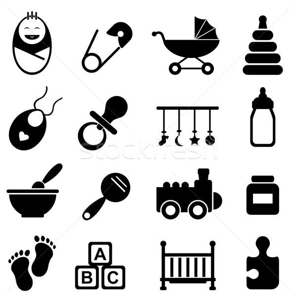 Bebê nascimento ícones cara Foto stock © soleilc