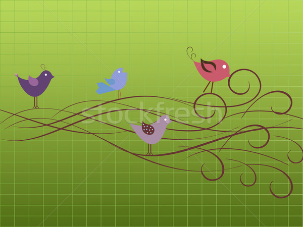 птиц дерево фон винограда Сток-фото © soleilc