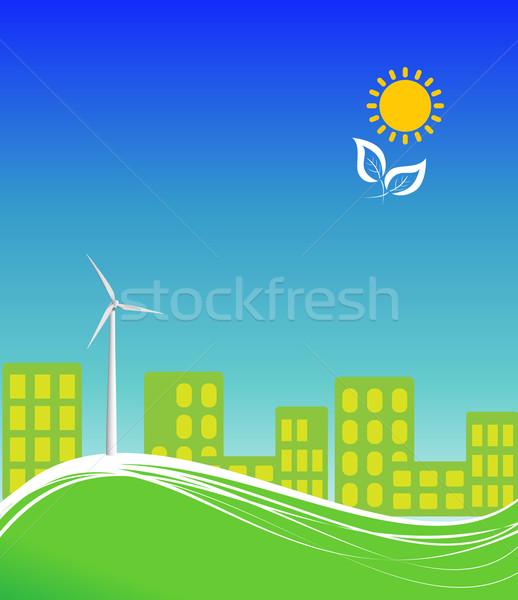 город Чистая энергия чистой альтернатива энергии ветровой турбины Сток-фото © soleilc