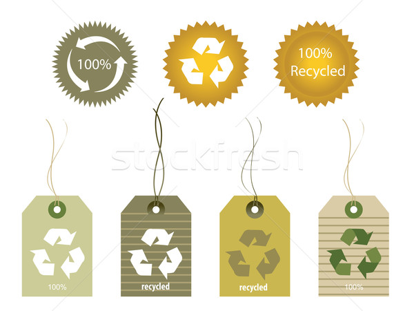 Tags unterschiedlich Formen Materialien Recycling Stock foto © soleilc