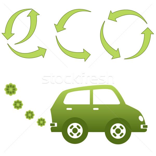 Respectueux de l'environnement voiture électrique environnement accueillant vert illustration Photo stock © soleilc
