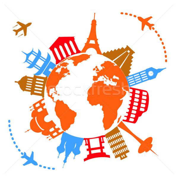Célèbre Voyage monde monde avion Europe Photo stock © soleilc