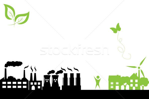 зеленый города промышленных здании Чистая энергия зданий Сток-фото © soleilc