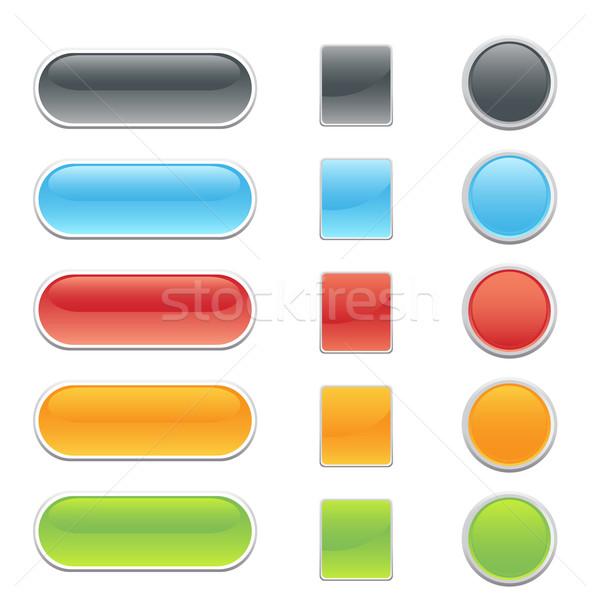 Website internet knoppen kleurrijk 3D naar knoppen Stockfoto © soleilc