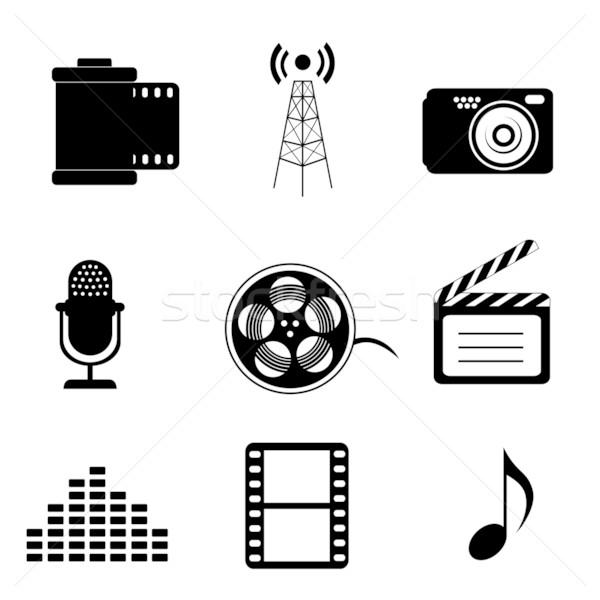 Massa mídia ícones preto microfone comunicação Foto stock © soleilc