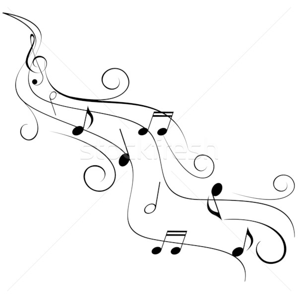 Music notes on swirl stave Stock photo © soleilc