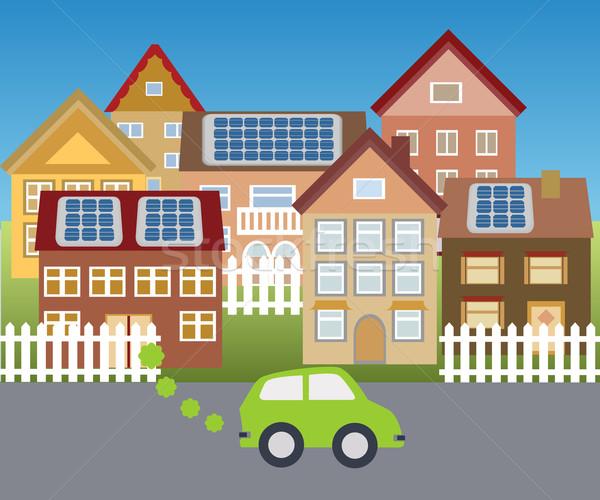 Güneş kasaba güneş enerjisi ev ev yeşil Stok fotoğraf © soleilc