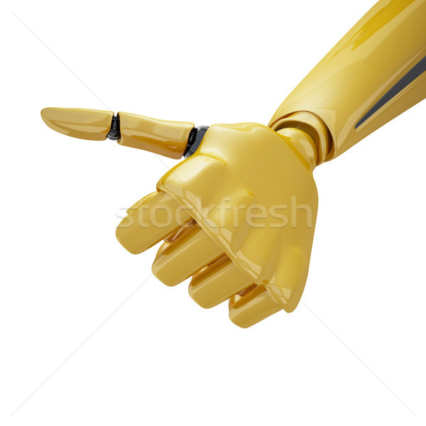 Gold 3d robotic with thumb up Stock photo © sommersby
