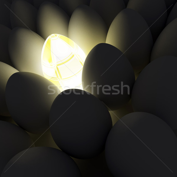 Unique abstract shining egg among simple eggs Stock photo © sommersby